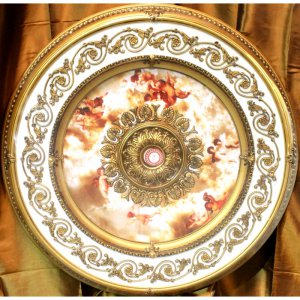 """White and Gold w/ Pink Cherub Ceiling Medallion Round Circle 43"""" New Home Decor"""
