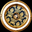 Gold and White with Blue Pattern insert Ceiling Medallion Round 51&quot;