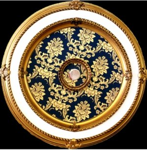 """Gold and White with Blue Pattern insert Ceiling Medallion Round 51"""""""