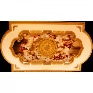"51""X94"" Ceiling Medallion Rectangular with Red Cherubs"