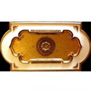 "51""x94"" Ceiling Medallion Rectangular with Gold Leaves"