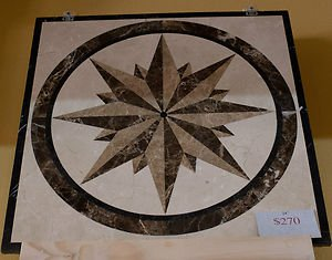 "Home Decor Waterjet Cut Marble Floor/Wall Medallion Square 24"" Granite Back"