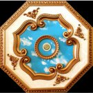 White and Gold w/ Blue Cloud Pattern insert Ceiling Medallion Octagonal 27""