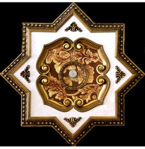"""Red and Gold Floral Star Ceiling Medallion 27"""""""