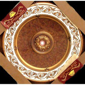 """White and Gold w/ Gold Damask Insert Medallion Round Circle 43"""" New Home Decor"""