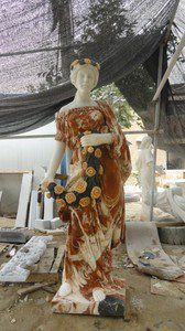"""Lady In Chicken Blood Red and White Marble Statue 71"""""""