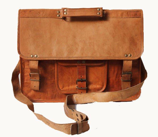 Goat Leather Bag Original Leather Laptop Messenger Shoulder Cross Bag #103
