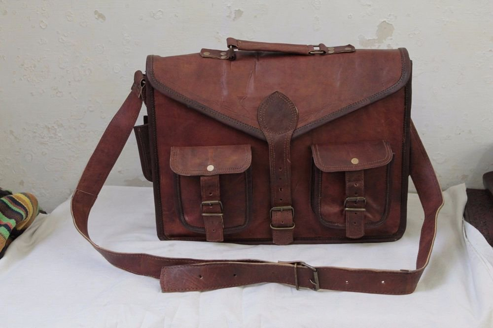 "15"" Men's Genuine Leather Messenger Laptop Bag Office School Books Bag #123"