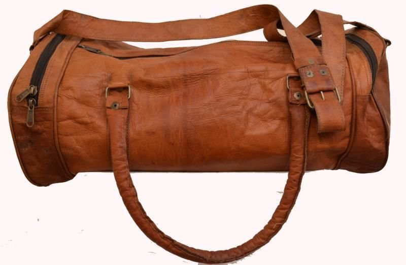 Retro Original Handmade Leather Bag, Unisex Duffler Travelling Sidebag Bags #156