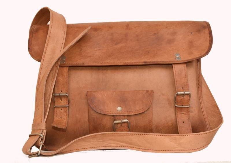 "14"" Retro Original Handmade Leather Bag, Unisex Laptop Messenger Cross Bags #151"
