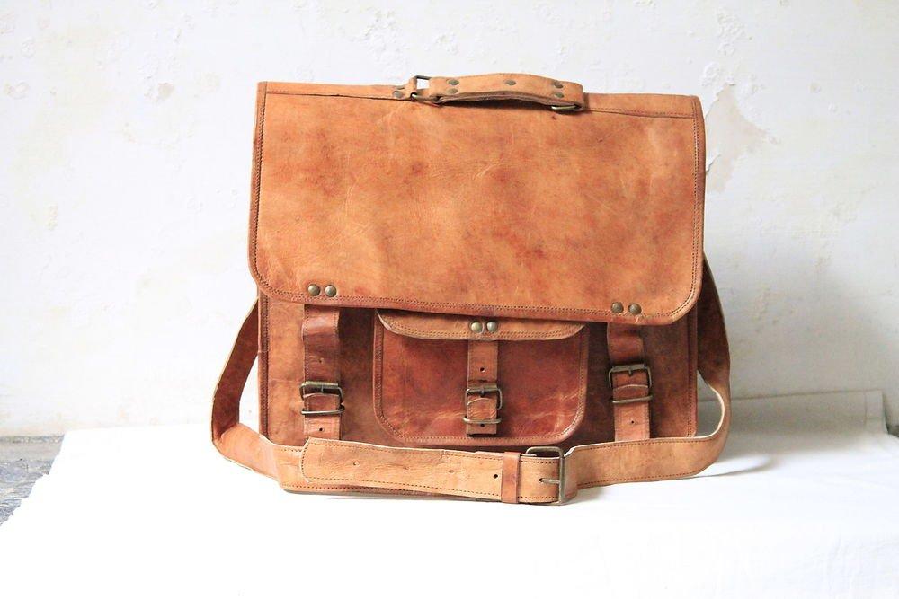 "15"" Retro Original Handmade Leather Bag, Unisex Laptop Messenger Cross Bags #152"