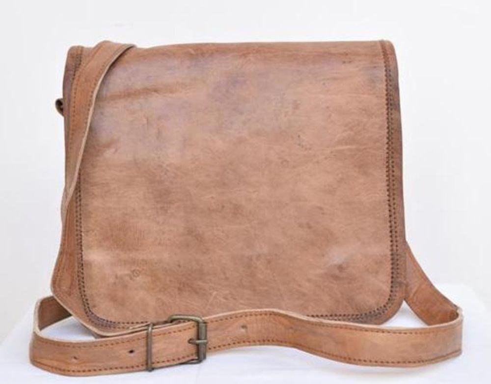 "9"" Genuine Leather Messenger Laptop Cross Bag Books Woman Handmade Purse #136"