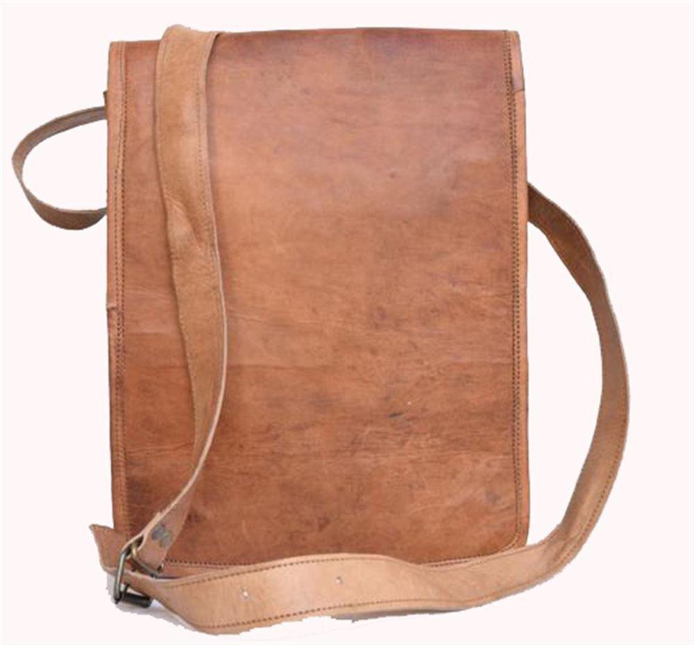 "9"" Genuine Leather Messenger Laptop Cross Bag Books Travel Handmade Purse #137"