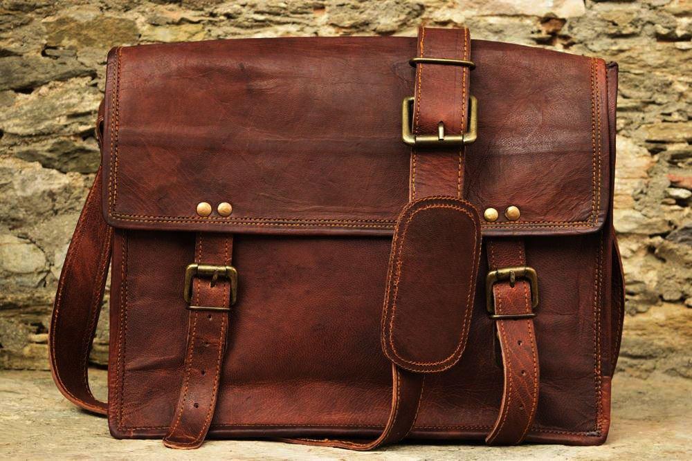 "13"" Men's Genuine Real Leather Messenger Laptop Bag Office Books School Bag #121"