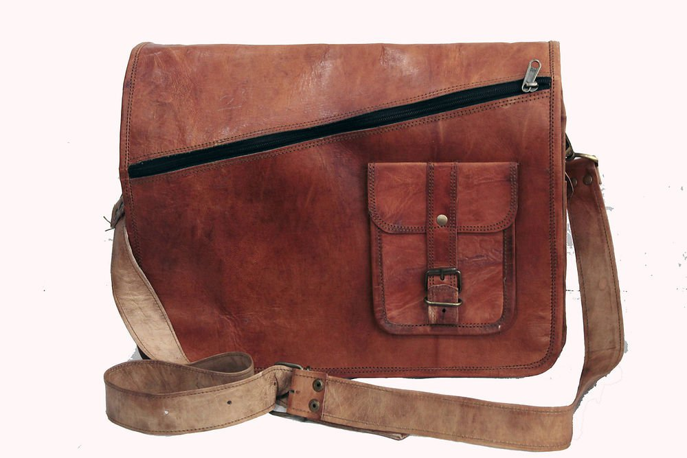 "14"" Stylish Handmade Real Leather Bag, Unisex Laptop Messenger Office Bags #166"