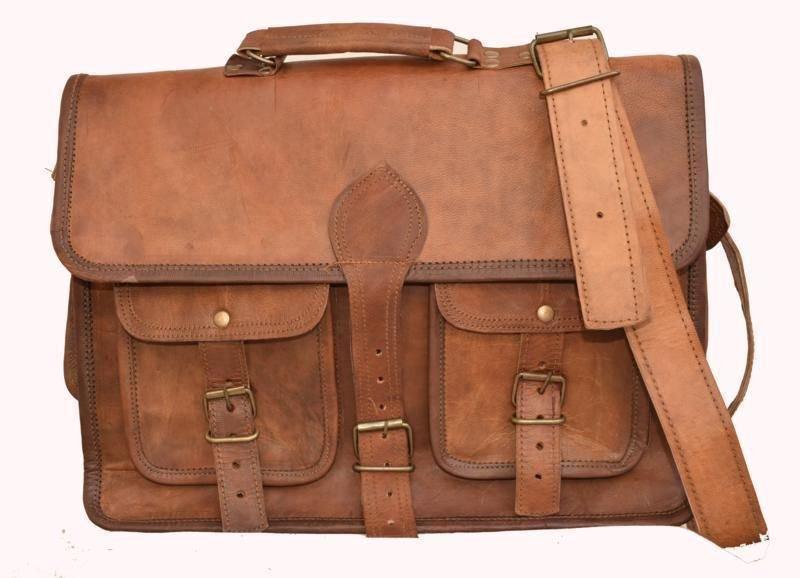 "15"" Retro Original Handmade Leather Bag, Unisex Laptop Messenger Cross Bags #153"