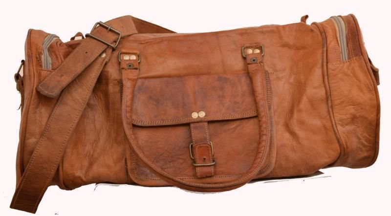 Retro Original Handmade Leather Bag, Unisex Duffler Gym Travelling Bags #157
