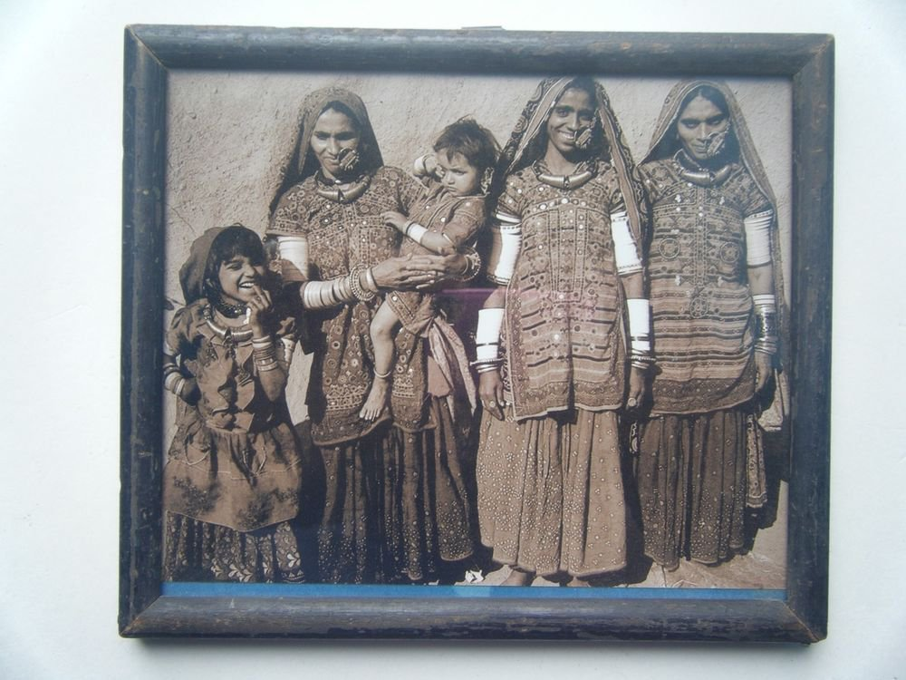 Indian Tribal Ladies Rare Photograph, Vintage Photo in Old Wooden Frame #2733