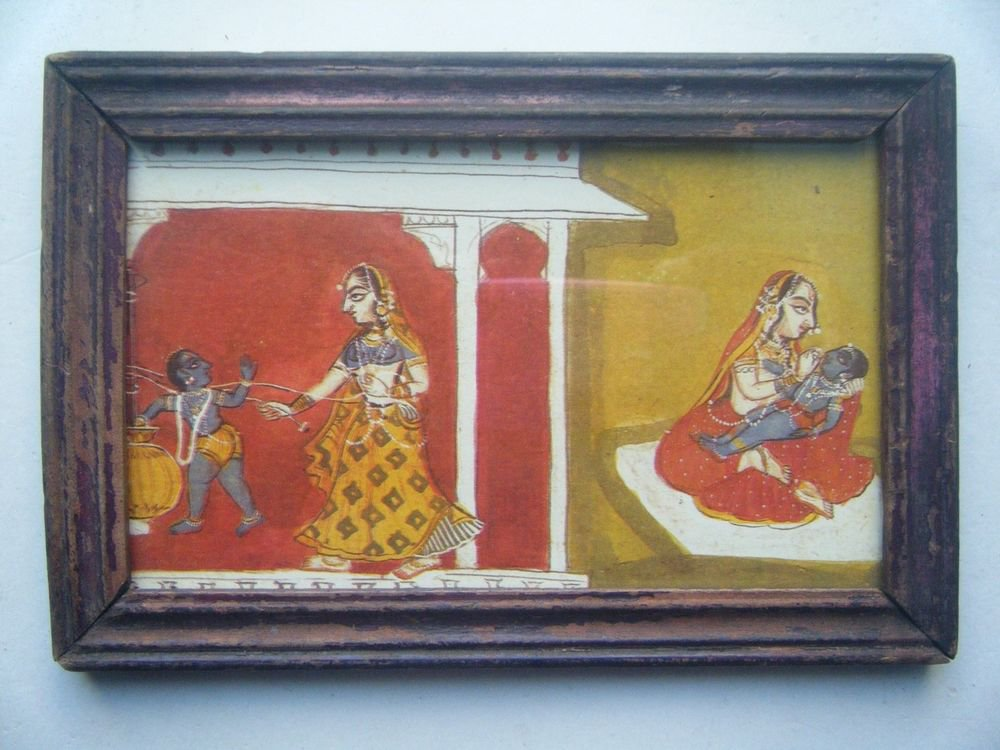 Miniature Old Religious Painting's  Print in Old Wooden Frame India Art #2841