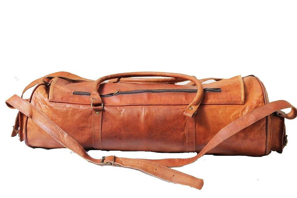 "15"" Stylish Handmade Real Leather Bag, Unisex Gym Travelling Bike Bags #168"