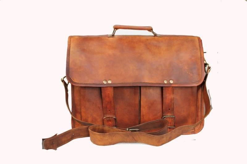 "14"" Stylish Handmade Pure Leather Bag, Unisex Laptop Messenger Office Bags #164"