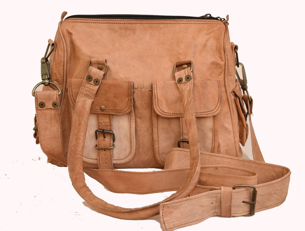 "11"" Original Handmade Leather Bag, Woman Handbag Travelingl Purse India #138"