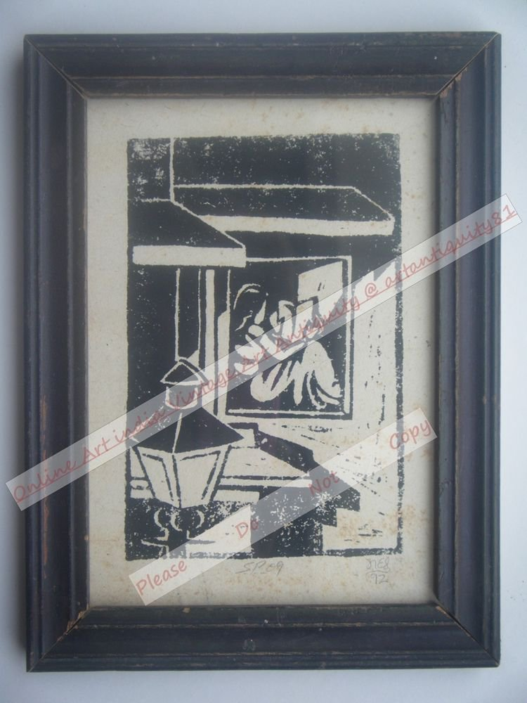 Original Indian Lady Women Signed Art Print in Old Wooden Frame India #2361