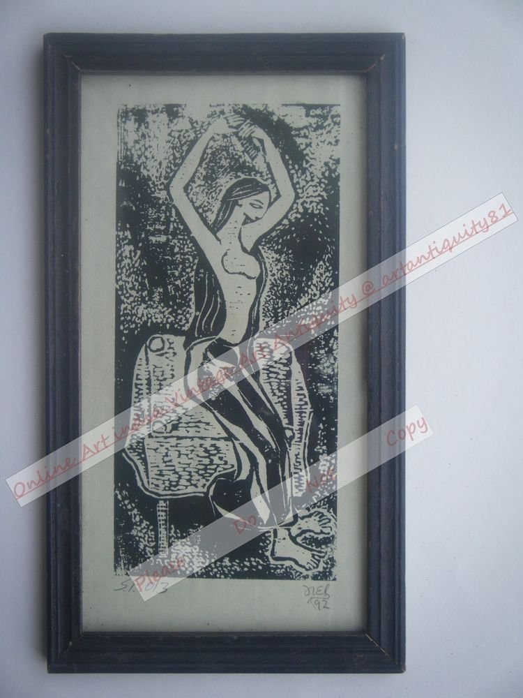 Original Indian Lady Women Signed Art Print in Old Wooden Frame India #2365