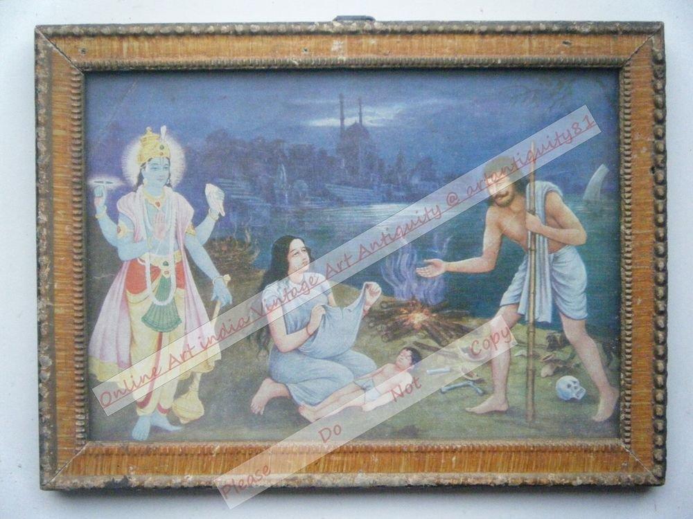Hindu God Vishnu & Krishna Vintage Print in Old Wooden Frame Religious Art #2478