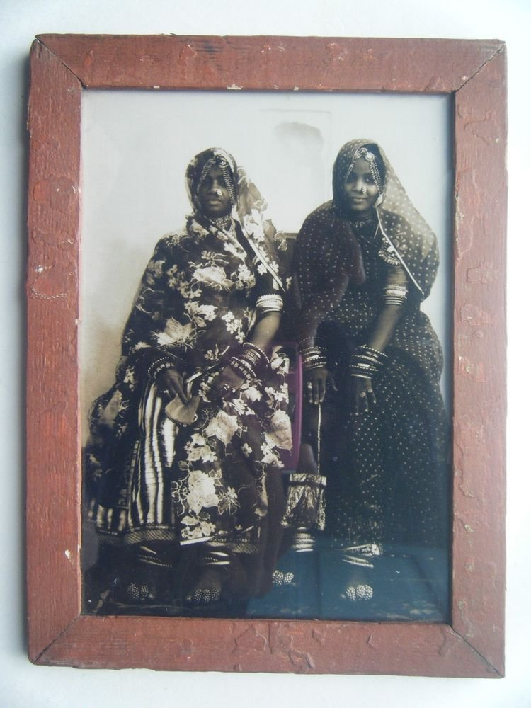 Indian Tribal Lady Woman Photograph, Vintage Photo in Old Wooden Frame #2731
