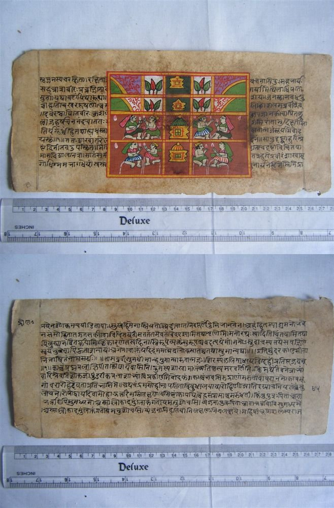Original Antique Old Manuscript Indian Cosmology New Hand Painting Rare #609