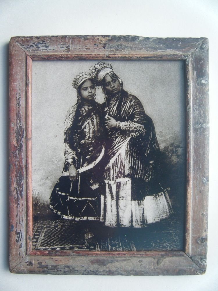 Indian Village Lady Woman Photograph, Vintage Photo in Old Wooden Frame #2729