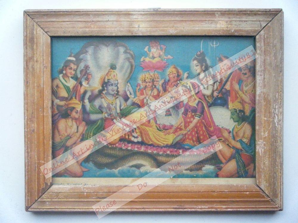 Hindu God Vishnu Assembly Vintage Print in Old Wooden Frame Religious Art #2477