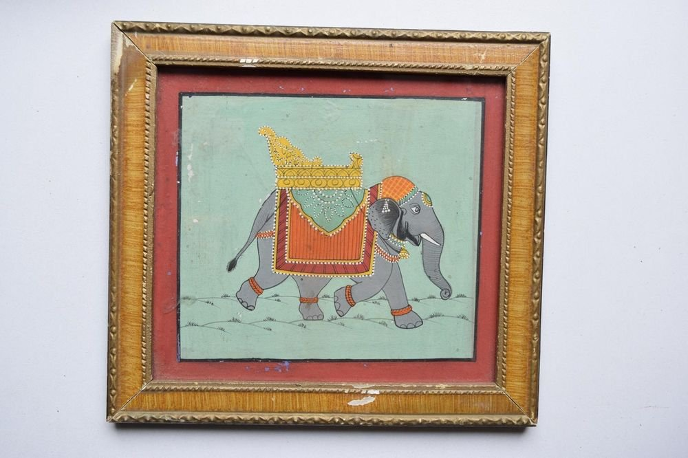 Beautiful Elephant Hand Color Folk Painting in Old Wooden Frame India #3101