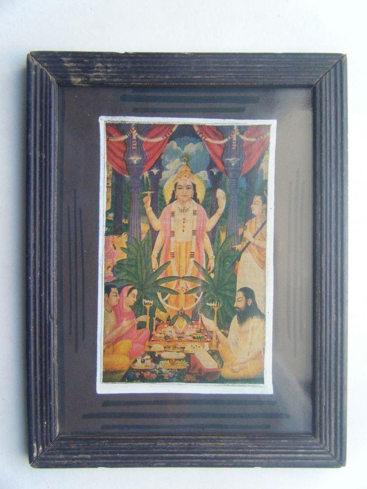 Hindu God Vishnu Original Vintage Print in Old Wooden Frame Religious Art #2810