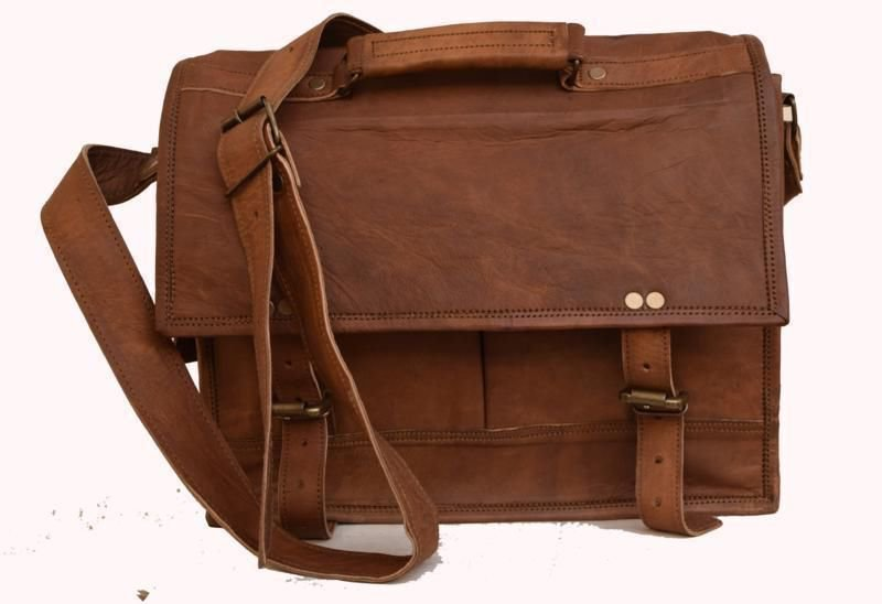 Classic Original Handmade Leather Bag, Unisex Laptop Messenger School Bags #162