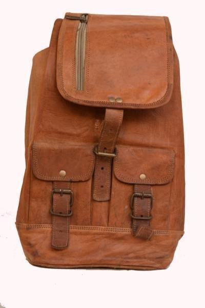"9"" Classic Original Handmade Leather Bag, Unisex Rucksack Travelling Bags #158"