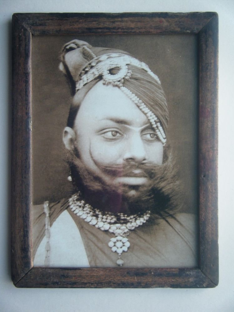 Indian Maharaja Rare Framed Photograph, Vintage Photo in Old Wooden Frame #2706