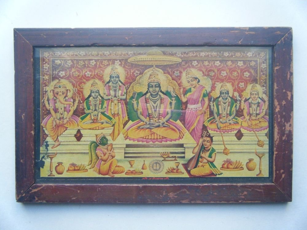 Shri Badri Nathji Vishnu Vintage Print in Old Wooden Frame Religious Art #2803