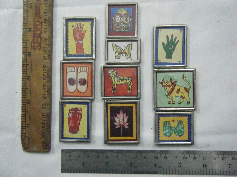 Beautiful Freeze Magnets Hand Color Painting Metal Frame Lot of 10 Pcs Rare #065