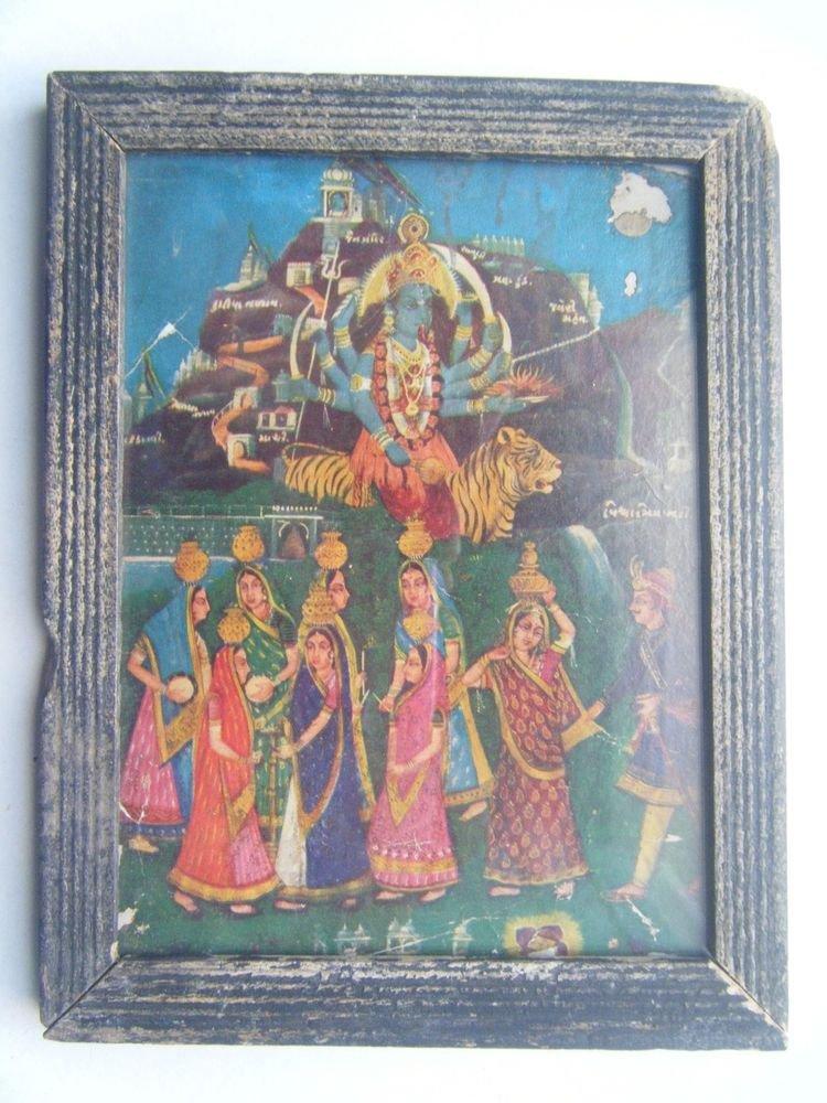 Goddess Kali Mata Rare Old Religious Print in Old Wooden Frame India Art #2857