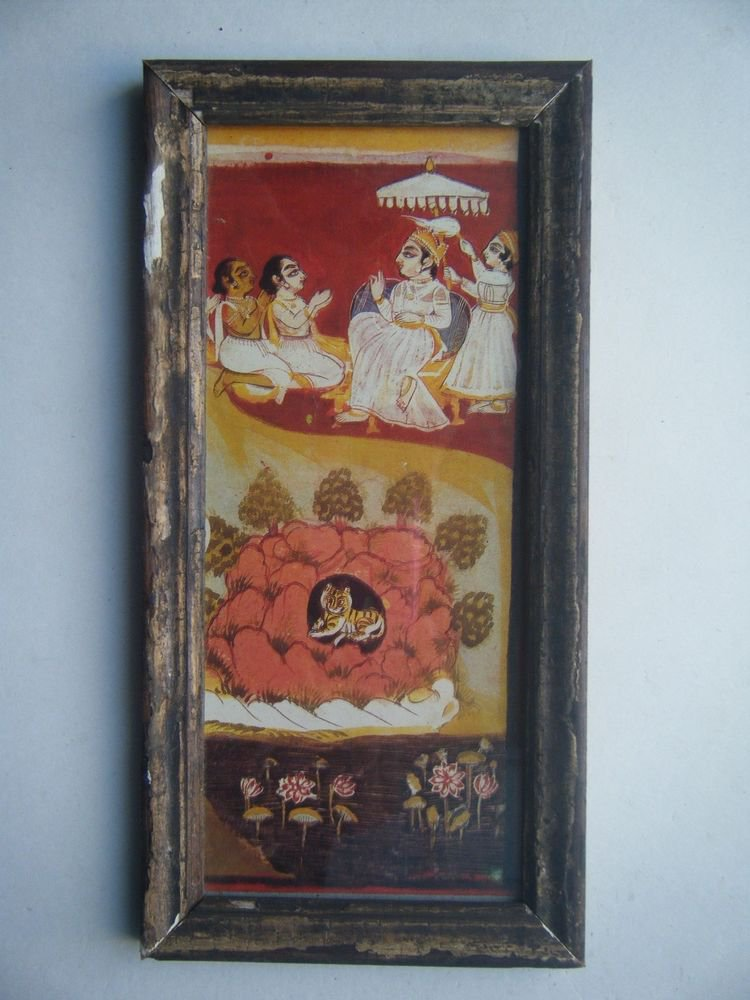 Miniature Old Religious Painting's  Print in Old Wooden Frame India Art #2832