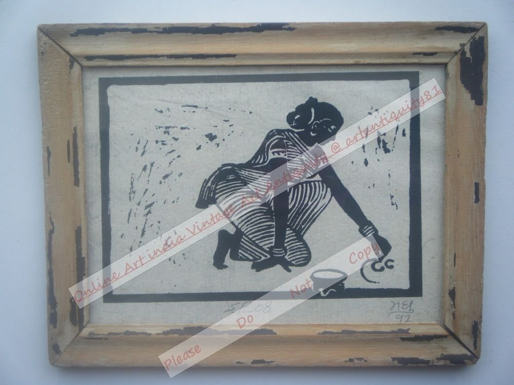 Working Lady Beautiful Signed Art Print in Old Handmade Wooden Frame India #2382