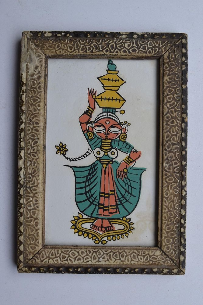 Dancing Lady Decorative Beautiful Vintage Old Print in Old Wooden Frame #2997