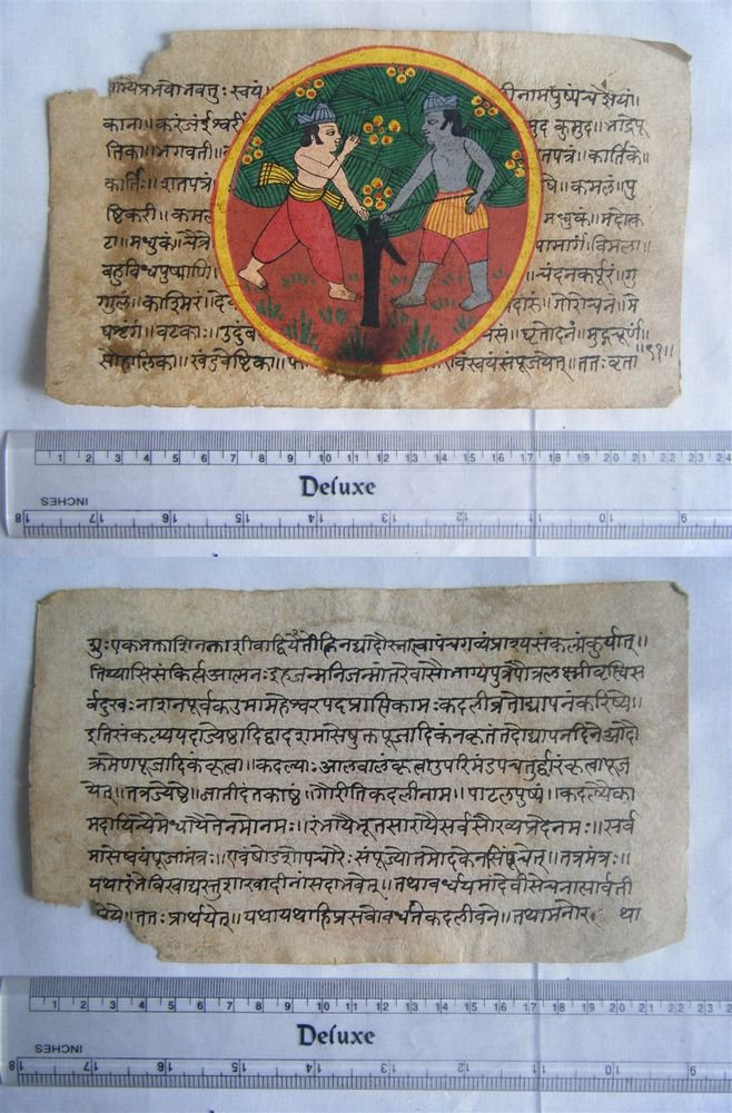 Original Antique Old Manuscript Indian Cosmology New Hand Painting Rare #596
