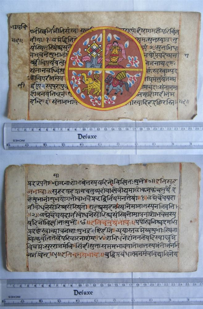 Original Antique Old Manuscript Indian Cosmology New Hand Painting Rare #593