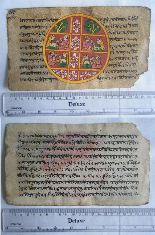 Original Antique Old Manuscript Indian Cosmology New Hand Painting Rare #591