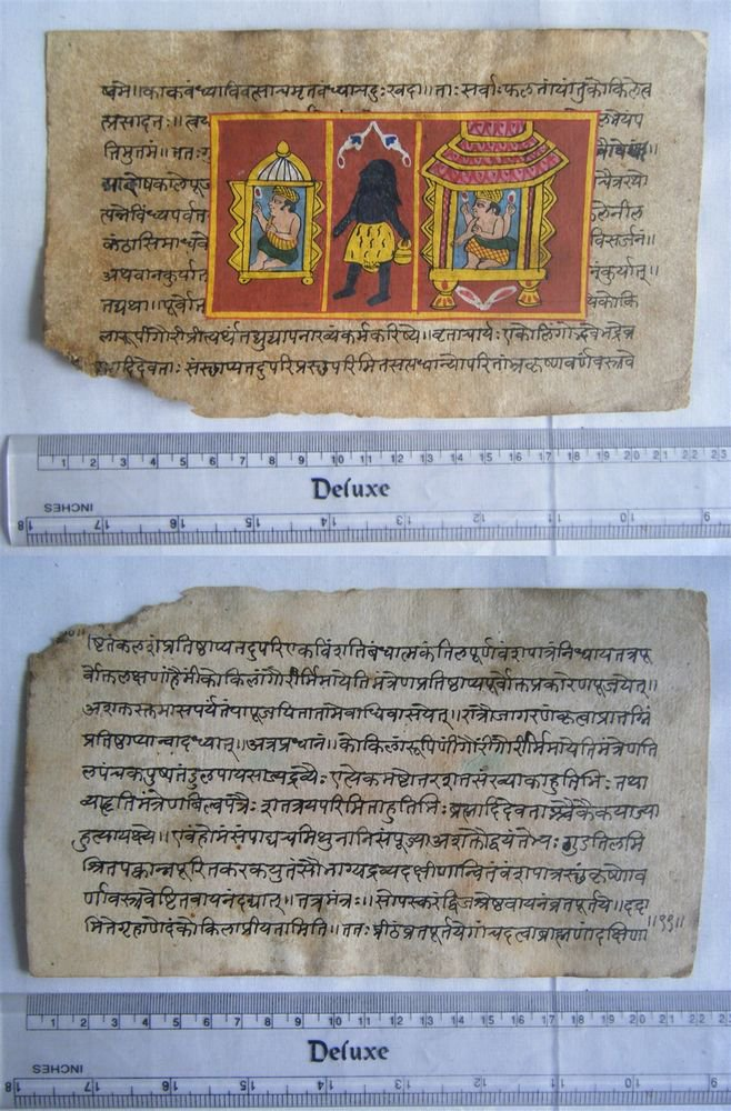 Original Antique Old Manuscript Indian Cosmology New Hand Painting Rare #600