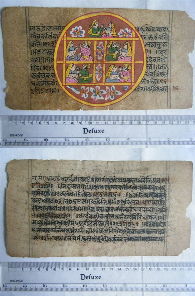 Rare Original Antique Old Manuscript Jain Cosmology New Hand Painting India#645