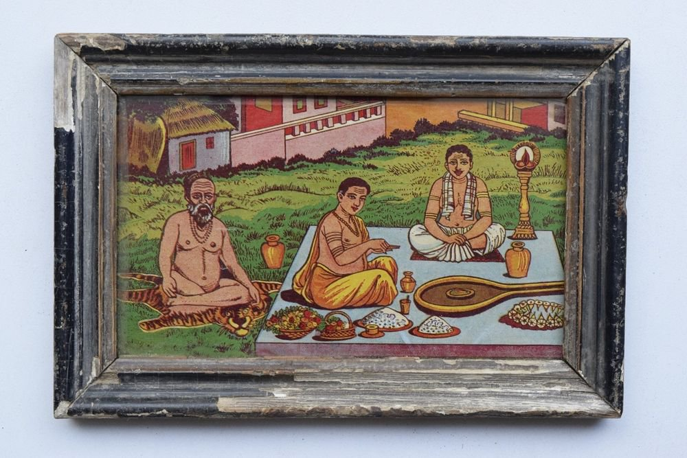Sadhu Saint Pandits Rare Collectible Old Art Print in Old Wooden Frame #3275